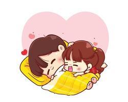 Paar, das auf der Decke glückliche Valentinstagkarikaturcharakterillustration umarmt vektor