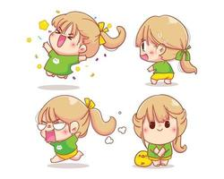 flicka karaktär med olika känslor tecknad set illustration vektor