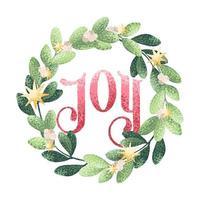 akvarell stil jul krans med glädje text vektor