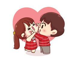 söt pojke kind nypa sin flickvän glad valentine tecknad karaktär illustration vektor
