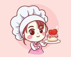 niedliches Bäckereikochmädchen, das eine kuchenlächelnde Karikaturkunstillustration hält vektor
