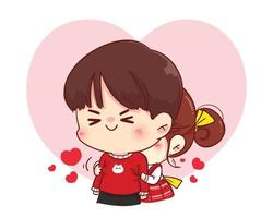 süßes Mädchen, das ihren Freund von hinter der glücklichen Valentinstagkarikaturcharakterillustration umarmt vektor