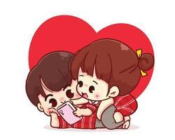 Liebespaar, das das Smartphone zusammen betrachtet, glückliche Valentinstagkarikaturcharakterillustration vektor