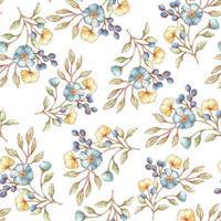 akvarell stil blommönster vektor