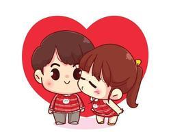söt flicka kysser sin pojkvän glad valentine tecknad karaktär illustration vektor