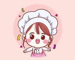 niedliches Kochmädchen, das im einheitlichen Willkommensvektor lächelt vektor