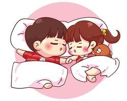 Paar, das zusammen glückliche Valentinstagkarikaturcharakterillustration schläft vektor