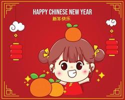 glad tjej och apelsin, lyckligt kinesiskt nyårsfirande tecknad karaktärsillustration vektor