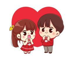 Paar, das ein Herz mit den glücklichen Valentinstagkarikaturcharakterillustration der Hände macht vektor