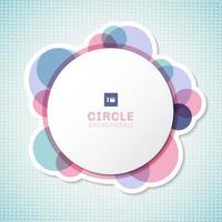banner vit cirkel rund etikett med pastell cirklar element överlappar varandra på blå bakgrund.