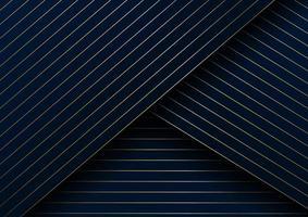 abstrakt guldlinjer diagonalt mönster överlappar lager på mörkblå bakgrund och konsistens. vektor