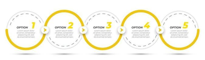 Infografik-Designetikett der Zeitachse mit Kreisen und Pfeilen. Geschäftskonzept mit 5 Optionen oder Schritten. kann für Workflow-Diagramme, Präsentationen, Info-Diagramme verwendet werden. vektor