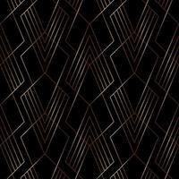 elegantes geometrisches Muster der Goldlinie auf Art-Deco-Stil des schwarzen Hintergrunds.