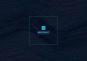 abstrakt leuchtendes blaues Wellenlinienmuster mit Teilchenelementen auf dunklem Hintergrund. vektor