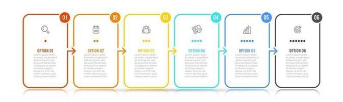 Vektor Infografik Elemente dünne Linie Design-Label mit Symbolen. Geschäftskonzept mit 6 Optionen, Schritten. kann für Workflow-Diagramm, Info-Diagramm, Grafik verwendet werden.
