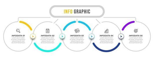 Infografik Vektor Design Vorlage mit Pfeilen und Symbolen. Geschäftskonzept mit 5 Optionen oder Schritten. kann für Präsentationen, Geschäftsbericht, Infotabelle verwendet werden.