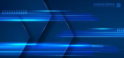 abstrakt teknik futuristiskt koncept blå geometrisk hexagon med horisontell ljus linje på mörkblå bakgrund. vektor