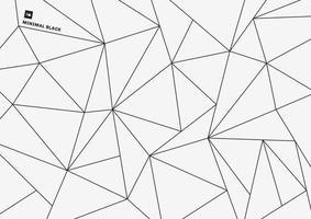 einfaches schwarzes Linienmuster des abstrakten geometrischen Dreiecks des niedrigen Polygons auf minimalem Stil des weißen Hintergrunds.