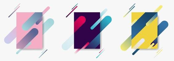 uppsättning omslagsmallar med dynamisk komposition gjord av olika färg rundade linjer formar linjer i diagonal rytm. vektor