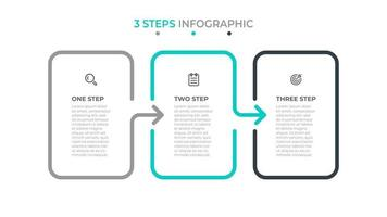 Geschäftsinfografik-Schablonendesign mit Symbol und Pfeilen. Zeitleiste mit 3 Optionen oder Schritten. kann für Workflow-Diagramm, Jahresbericht verwendet werden.