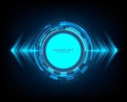 abstrakt teknik blå cirkel, ljusstråle och pilmönster på mörk bakgrund högteknologiska kommunikationskoncept vektor