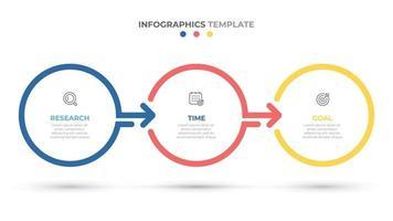 Geschäftsinfografikkreise beschriften Design mit Pfeilen. Zeitleiste mit 3 Optionen, Schritten, psrts. Vektorillustration.