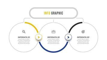Infografik Vektor Design Vorlage mit Pfeilen und Symbolen. Geschäftskonzept mit 3 Optionen oder Schritten. kann für Präsentationen, Geschäftsbericht, Infotabelle verwendet werden.