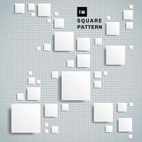 abstrakte realistische geometrische Form des weißen Papierquadratmusters 3d mit Schatten auf Gitterhintergrund und -beschaffenheit.