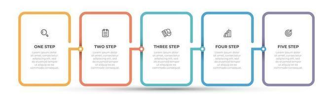 Vektor-Infografik-Schablonendesign mit Symbol- und Dünnlinienprozessen. Geschäftskonzept mit 5 Optionen oder Schritten.