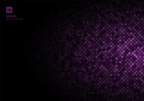 lila mosaik pixelmönster på bleknar ut svart bakgrund konsistens. vektor