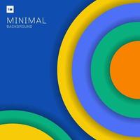 abstrakta moderna färgglada cirklar överlappar med skugga på blå bakgrund minimal stil.