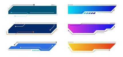 uppsättning element geometriska webbrubriker eller banderoller isolerad på vit bakgrund teknik koncept. vektor
