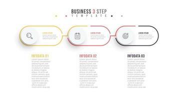 dünne Linie minimales Infografik-Design-Etikett mit Kreisen. Geschäftskonzept mit 3 Optionen oder Schritten.