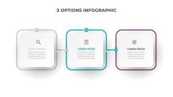 Business-Infografik-Prozess mit quadratischem Template-Design mit Symbolen und 3 Optionen oder Schritten. Vektorillustration.