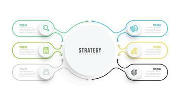 tunn linje platt infografisk mall. affärsdata visualisering design med ikoner och 6 alternativ eller steg. kan användas för arbetsflödesdiagram, processdiagram, årsredovisning. vektor