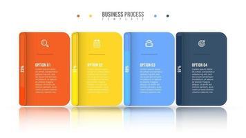 Business Infografik Design Vektor und Marketing-Ikonen. Fortschrittsbalken-Konzept mit 4 Optionen oder Schritten.