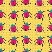 skalbagge insekt sömlösa mönster illustration vektor