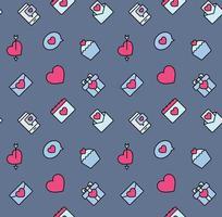Alla hjärtans dag mönster sömlösa med hjärtan och alla hjärtans symbol. används för textil, tyg, bakgrund. vektor