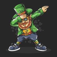 tupfen st. Patricks Tag bärtiger Mann in Brille und Hut vektor