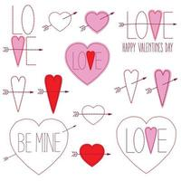 handgenähte Valentinstaggrafiken vektor