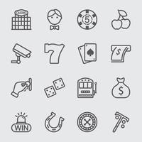 casino linje ikoner set
