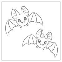 glad halloween söta fladdermöss ritning skiss för färgläggning vektor