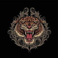 wütendes Tigerkopfmaskottchen mit Verzierungswirbeln