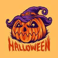 ausgeflippte Halloween-Kürbisvektorillustration