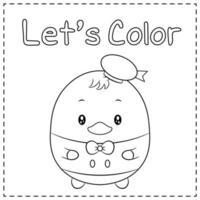 Zeichnungsskizze niedliche Ente mit Hut zum Färben vektor