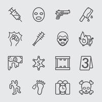 Verbrechenslinie Symbole gesetzt vektor