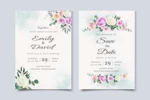Hochzeitseinladungskarte mit schönen Blumen vektor