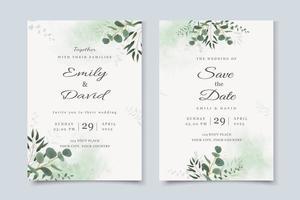 Hochzeitseinladungsschablone mit Eukalyptusblättern vektor