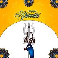 lord shivji trishul och bakgrund för lycklig maha shivratri vektor
