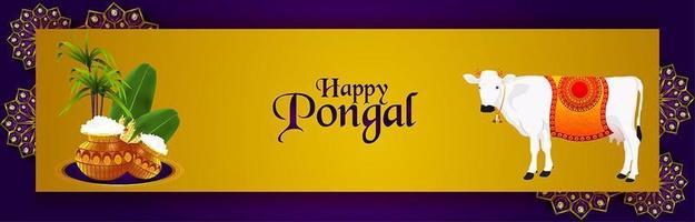 fröhliches Pongal-Banner mit kreativem Schlammtopf und Zuckerrohr vektor